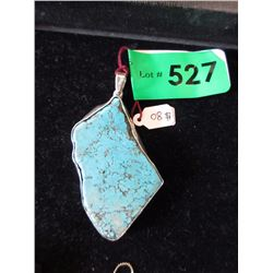 Large Turquoise Pendant with .925 Silver Setting