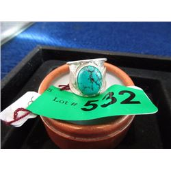 Wide .925 Silver and Turquoise Ring - Size 9