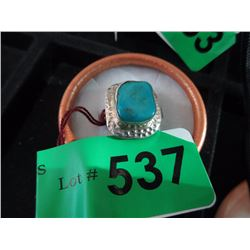 .925 Silver and Turquoise Ring - Size 6