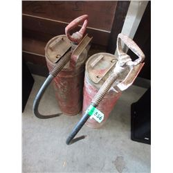 Pair of Vintage Hand Pump Fire Extinguisher