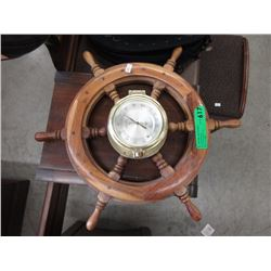 Hygrometer in Wood Ship's Wheel