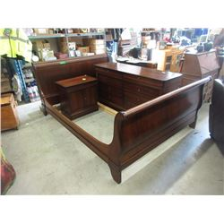 Queen Size Sleigh Bed with Dresser & Bedside Table