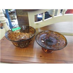 Leopard Glass Salad Bowl & Cake Stand