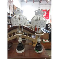 "Pair of Vintage Metal Table Lamps - 32"" High"