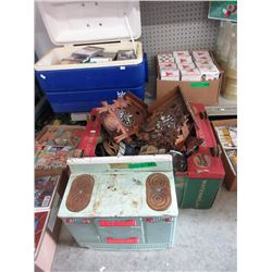 Vintage Metal Toy Oven & Box of Assorted Goods