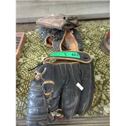 3 Leather Baseball Mitts