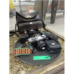 Minolta Camera with Additional Lenses & Bag