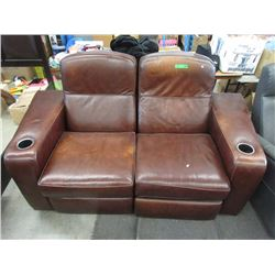 Bonded Leather Loveseat with Cup Holders