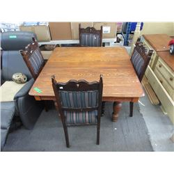 Vintage Oak Table with 4 Wood Chairs