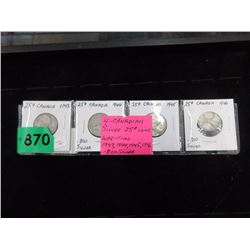 4 Canadian Silver War-Time Quarters - .800 Silver