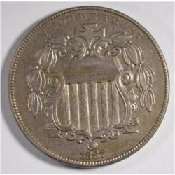 1867 WITH RAYS SHIELD NICKEL, XF/AU