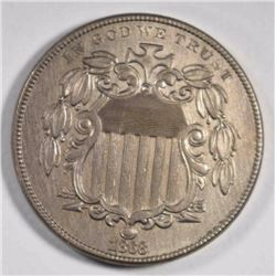 1868 SHIELD NICKEL, AU/BU