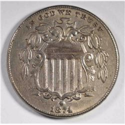 1874 SHIELD NICKEL, AU KEY DATE