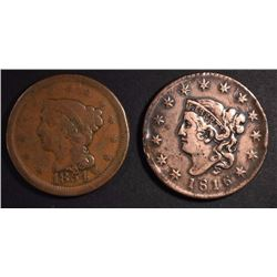 2 LARGE CENTS, 1816-F/VF, 1854 VG