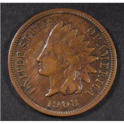 1908-S INDIAN HEAD CENT, VF KEY DATE