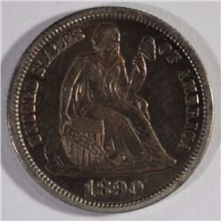 1890 SEATED DIME, AU/BU TONED