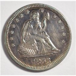 1858 SEATED QUARTER, AU -CLEANED