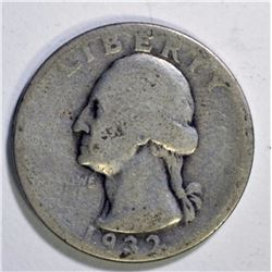 1932-D WASHINGTON QUARTER, GOOD KEY DATE