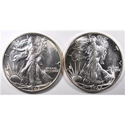2-1942 WALKING LIBERTY HALF DOLLARS, CH BU