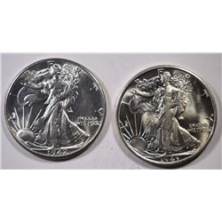 1942 & 43-S WALKING LIBERTY HALF DOLLARS, CH BU