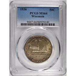 1936 WISCONSIN COMMEM HALF DOLLAR, PCGS MS-64