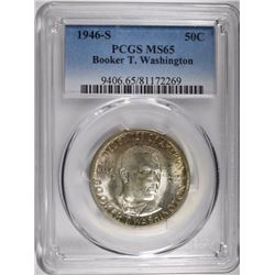 1946-S BOOKER T WASHINGTON HALF DOLLAR, PCGS MS-65