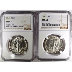 1941 & 1942 WALKING LIBERTY HALF DOLLARS NGC MS-63