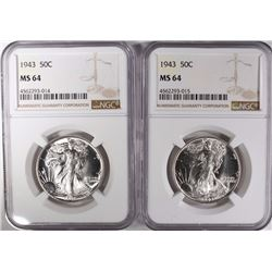 2-1943 WALKING LIBERTY HALF DOLLARS, NGC MS-64