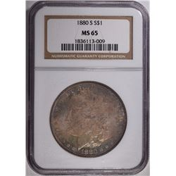 1880-S MORGAN DOLLAR, NGC MS-65