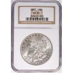 1887 MORGAN SILVER DOLLAR NGC MS65 GEM