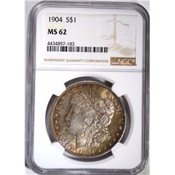 1904 MORGAN DOLLAR, NGC MS-62 TONING/COLOR