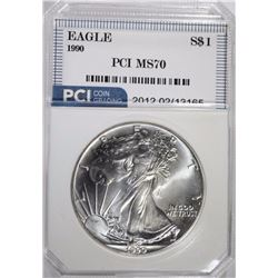 1990 AMERICAN SILVER EAGLE PCI PERFECT GEM BU
