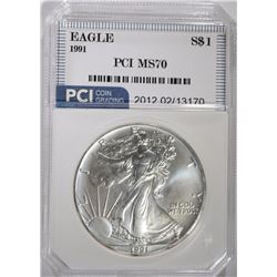 1991 AMERICAN SILVER EAGLE PCI PERFECT GEM BU