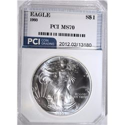 1993 AMERICAN SILVER EAGLE PCI PERFECT GEM BU