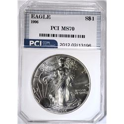 1996 AMERICAN SILVER EAGLE PCI PERFECT GEM BU
