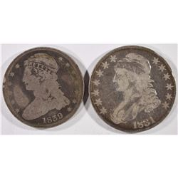 1839 REEDED EDGE-(G) & 1831 VG BUST HALF $'s