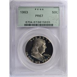 1963 FRANKLIN HALF DOLLAR PCGS PR67 GREEN LABEL
