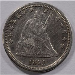1891-S SEATED LIBERTY QUARTER AU/UNC NICE
