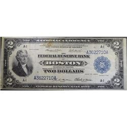 1918 $2.00 NATIONAL FEDERAL RESERVE BANK BOSTON XF