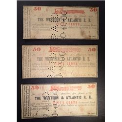 3 - 50 CENT NOTES FROM THE WESTERN & ATLANTIC RR