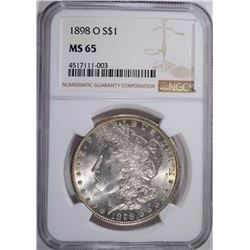 1898-O MORGAN DOLLAR NGC MS 65 GEM