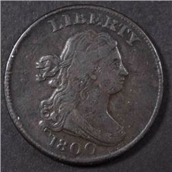 1800 DRAPED BUST HALF CENT, VF