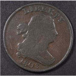 1803 DRAPED BUST HALF CENT, VG