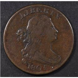 1805 DRAPED BUST HALF CENT, VF+