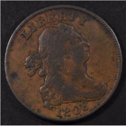 1808 DRAPED BUST HALF CENT, F/VF