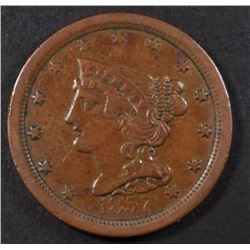 1857 HALF CENT, XF+ KEY DATE!