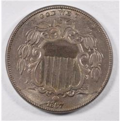 1867 SHIELD NICKEL, AU+