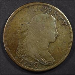 1798 DRAPED BUST LARGE CENT, VG+