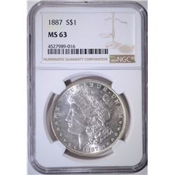 1887 MORGAN DOLLAR NGC MS63
