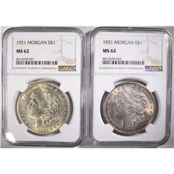 (2) 1921 MORGAN SILVER DOLLARS, NGC MS-62